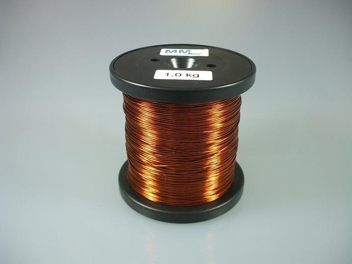 Kupferlackdraht 0,5 mm, lötbar, Temperaturindex 180 °C, 1 kg