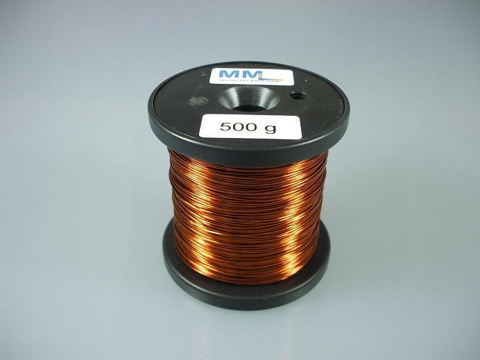 Kupferlackdraht 0,5 mm, lötbar, Temperaturindex 180 °C, 500 g